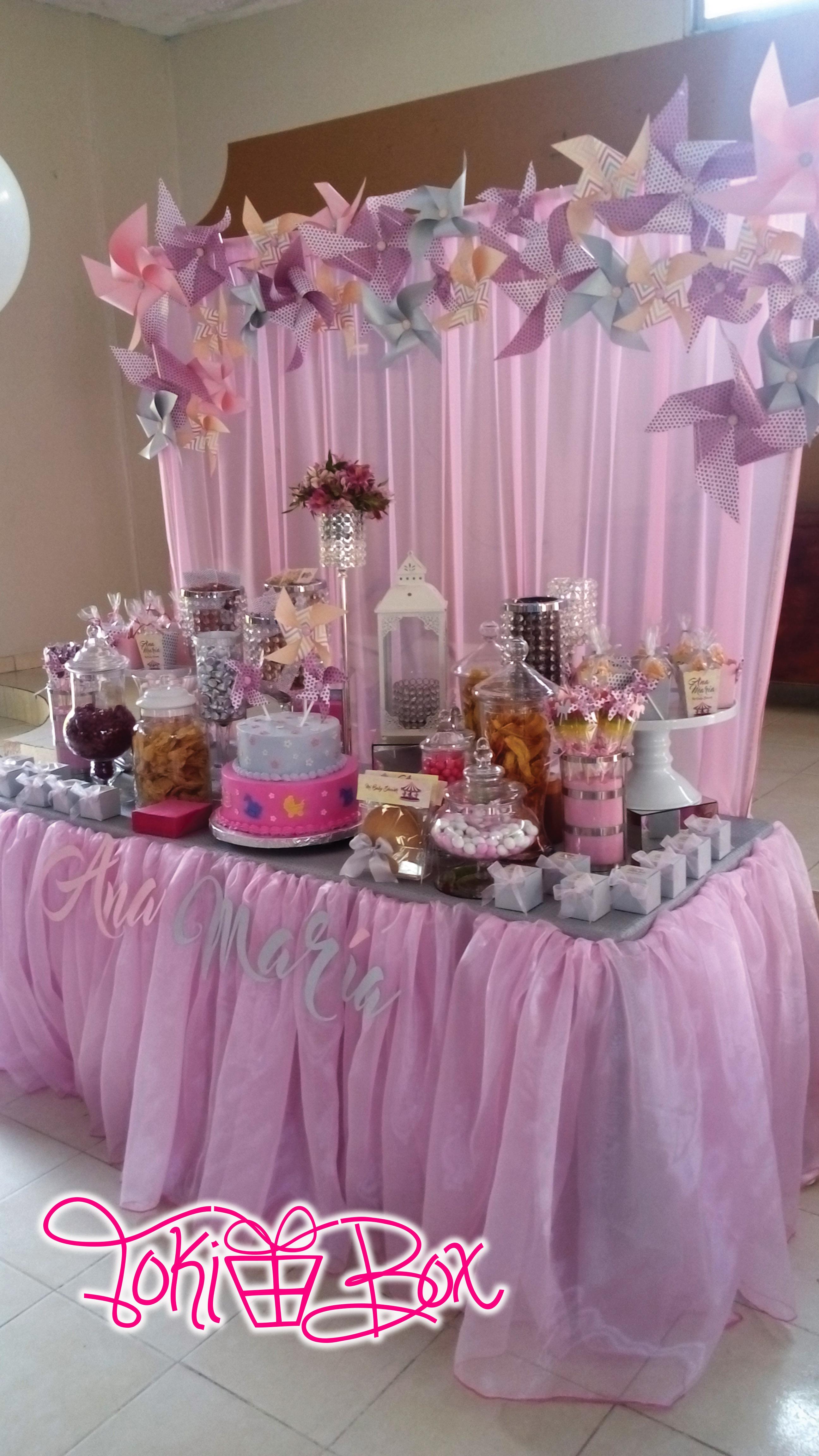 Mesa dulces ni a vingate bebe veracruz baby shower rosa for Como decorar mesa de postres para baby shower